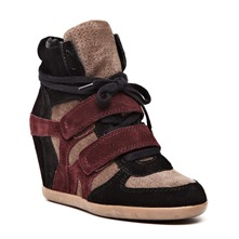 Baskets Bea en cuir noir, bordeaux et taupe