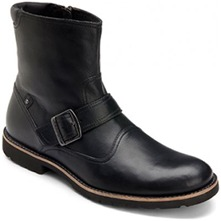Men footwear: Black Leather Ledge Hill Buckle Boots
