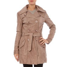Trench en cuir beige lphant