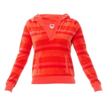 Sweat à capuche en velours rayé orange