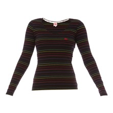 T-shirt noir  rayures multicolores