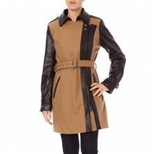 Manteau bi-matire camel