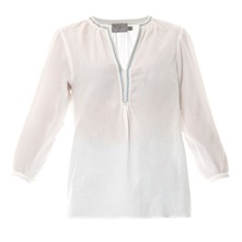 Blouse brode blanc et bleu