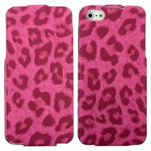 Housse cuir lopard iPhone5 rose