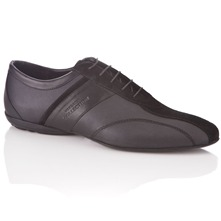 Men footwear: Black Leather Lace-up Trainers