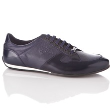 Men footwear: Dark Navy Leather Lace-up Casual Shoes