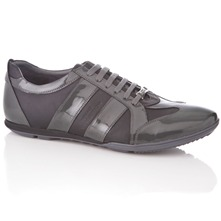 Men footwear: Grey Leather Lace-up Shoes