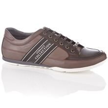 Men footwear: Brown Leather Lace-up Trainers