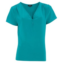 Blouse Tehora en soie turquoise
