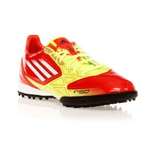 Chaussures de football F10 TRX TF rouge et jaune fluo