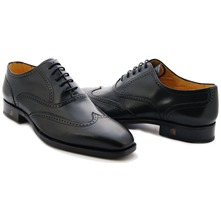 Men footwear: Black Derby Leather Full-Brogues