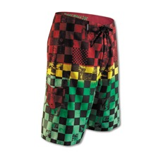 Boardshort Off the wall  carreaux vert et rouge