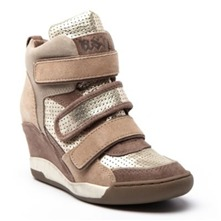 Baskets Alex en cuir camel et taupe