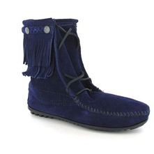 Boots 62 en cuir bleu marine
