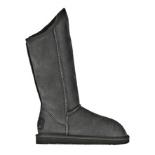 Bottes Cosy Tall Vintage Metallic en cuir gris fonc