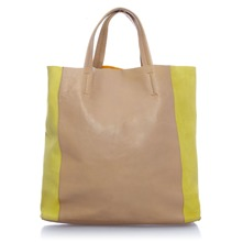 Shopping en cuir jaune et beige