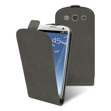 Etui Clapet + film protecteur d'cran Samsung i9300 Galaxy S III Gris