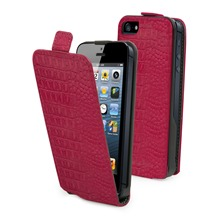 Etui Clapet + film protecteur d'cran iPhone5 Fushia