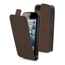 Etui Clapet + film protecteur d'cran iPhone5 Marron