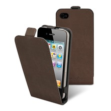 Etui Clapet + film protecteur d'cran iPhone4/4s Marron