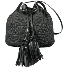 Women bags: Black Leather Tassel Crossbody Bag