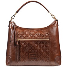 Women bags: Brown Leather Embossed Shoulder Bag