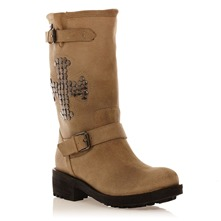 Bottes en cuir sud beige