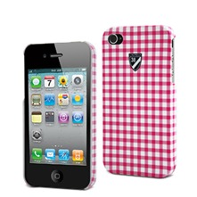 Coque rigide Vichy iPhone 4/4S rose et blanc