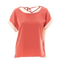 Blouse bicolore corail et rose clair