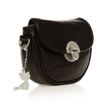 Pochette en cuir noir