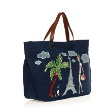 Sac shopping en jean bleu