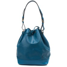 Women bags: Blue Leather Noe Drawstring Bag