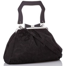 Women bags: Black Jacquard Design Handbag