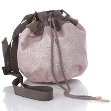 Women bags: Pink/Grey Cotton Blend Handbag