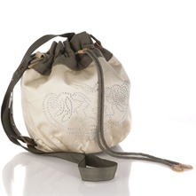 Women bags: Cream/Olive Cotton Blend Handbag