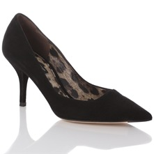 Women footwear: Black Gloss Suede Court Shoes 8cm Heel