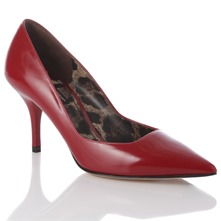 Women footwear: Red Gloss Leather Court Shoes 8cm Heel