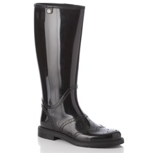 Women footwear: Black Brogue Wellington Boots