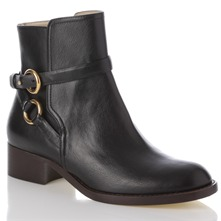 Women footwear: Black Buckle Leather Ankle Boots 4cm Heel