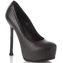 Black Reptile Leather Shoes 14cm Heel