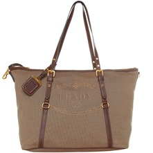 Women bags: Brown Fabric Tote Bag