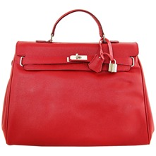 Women bags: Red Leather Double Handle Bag