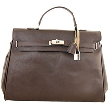 Women bags: Dark Brown Leather Double Handle Bag