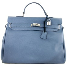 Women bags: Grey Leather Double Handle Bag