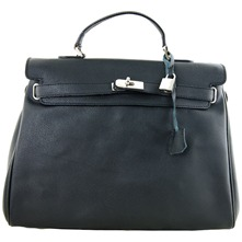 Women bags: Black Leather Double Handle Bag