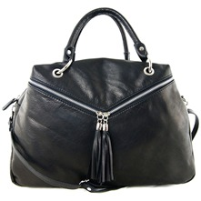 Women bags: Black Leather Tassel Hobo Bag