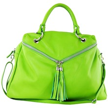 Women bags: Green Leather Tassel Hobo Bag