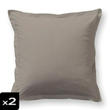 Lot de 2 taies d'oreiller taupe