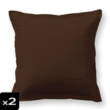 Lot de 2 taies d'oreiller marron