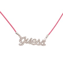 Collier Logo strass rose